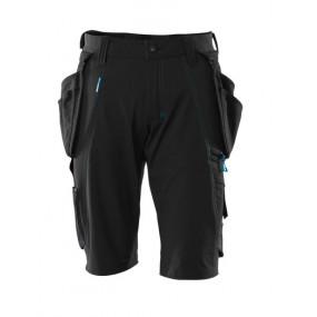 Shorts, aftagelige hængelommer,  stretch, Buks C52 sort