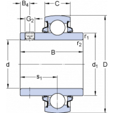 SKF Agri Y-leje m/femlæbet tætning, YARAG 205  (levetids smurt)