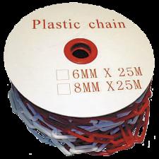 Plastkæde Rød/Hvid, 8 mm